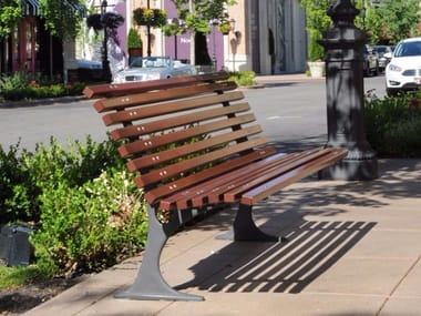 Wooden Bench with back GILIA | Bench