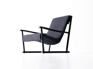 Fabric armchair with armrests GINA
