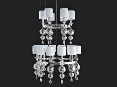 Lampadario a luce indiretta con cristalli GINEVRA   Lampadario