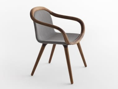 Solid wood chair with armrests GINEVRA