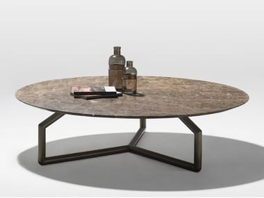 Low round marble coffee table GINGER