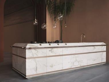 Cucina componibile in marmo Calacatta Oro e rame GINGER