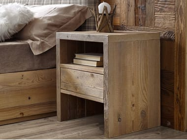 Rectangular wooden bedside table with drawers GIOIA | Bedside table