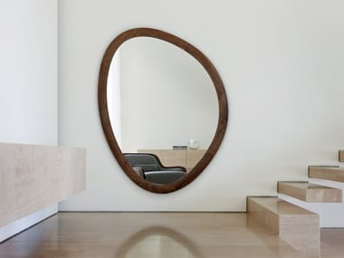 Wooden oval framed mirror GIOLO
