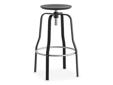 Height-adjustable steel and wood stool GIRO | Stool