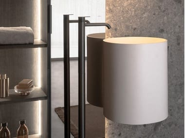 Round wall-mounted Solid Surface washbasin GIRO | Wall-mounted washbasin
