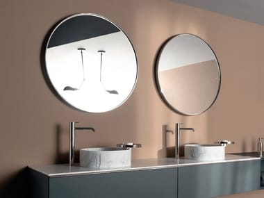 Round framed wall-mounted mirror GIRO | Round mirror