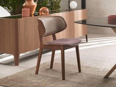 Sedia in legno con seduta e schienale imbottiti GISELE