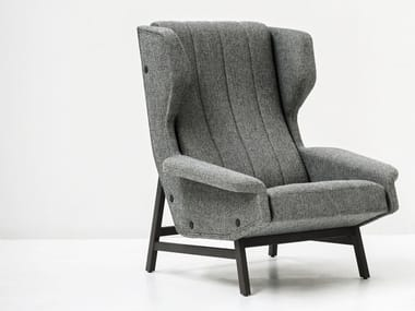 Wing fabric armchair with armrests GIULIA | Armchair