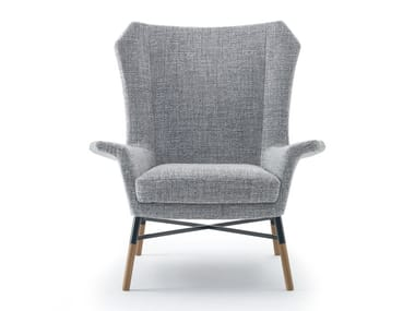 Upholstered fabric armchair with armrests GIULIETTA | Fabric armchair
