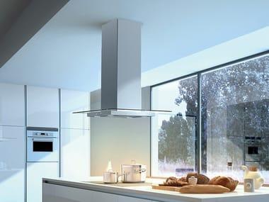 Exaustor de ilha de aço inox e vidro com luzes integradas Classe B GLASSY ISOLA/SP