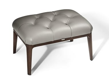 Leather footstool GLENN