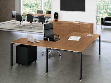 L-shaped wooden executive desk GLIDER | L-shaped office desk