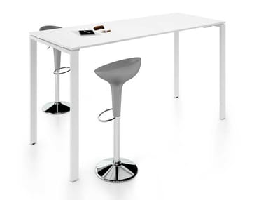 Height-adjustable rectangular melamine-faced chipboard meeting table GLIDER | Height-adjustable meeting table