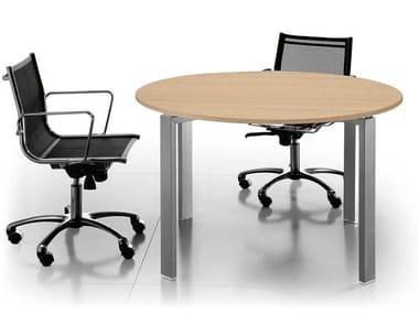 Tavolo da riunione rotondo in alluminio e legno GLIDER | Tavolo da riunione in alluminio e legno