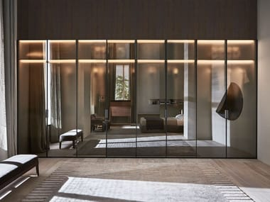 Hinged glass cabinet door for wardrobes GLISS MASTER WINDOW