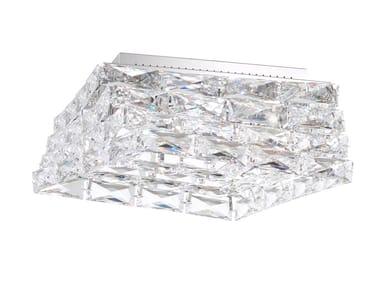 Plafoniera a LED in acciaio inox e cristallo GLISSANDO | Plafoniera