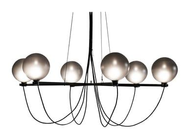Lampadario in acciaio e vetro GLOBE | Lampadario