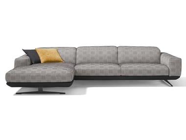Divano reclinabile in tessuto con chaise longue GLORIA | Divano in tessuto