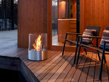 Freestanding bioethanol stainless steel fireplace with panoramic glass GLOW