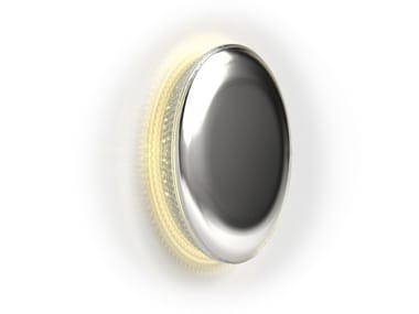 Applique a LED a luce radente fatta a mano in acciaio inox e cristallo GLOW