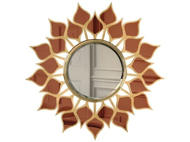 Wall-mounted wooden mirror GOA | Mirror