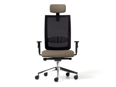 Mesh executive chair with 5-spoke base with headrest GOAL | Executive chair with headrest