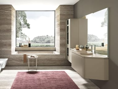 Lacquered wall-mounted vanity unit with drawers GOLA 01