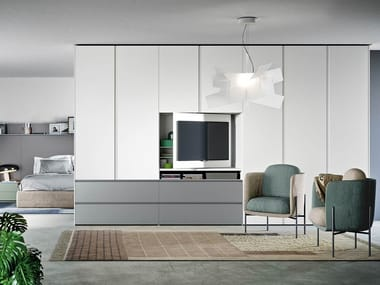 Sectional lacquered wardrobe with built-in TV GOLA | Wardrobe with built-in TV