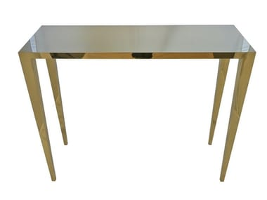 Rectangular steel console table GOLD