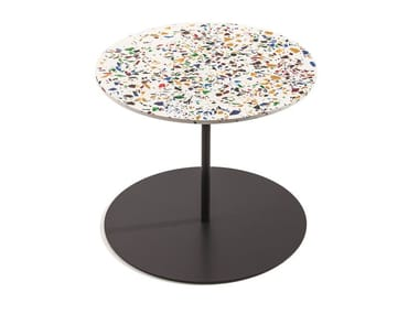 Detachable round plate coffee table GONG TERRAZZO