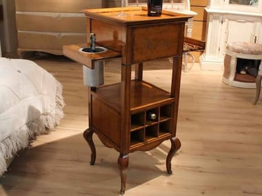 Wooden bar cabinet with casters GRACE | Bar cabinet