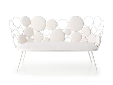 Fabric and iron 2 seater garden sofa GRACE | Garden sofa