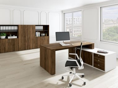L-shaped office desk with shelves LINEA GRACE | L-shaped office desk