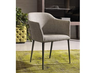 Upholstered fabric chair with armrests GRACE