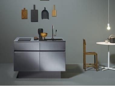 Steel Mini kitchen with integrated handles GRAD45 | Mini kitchen