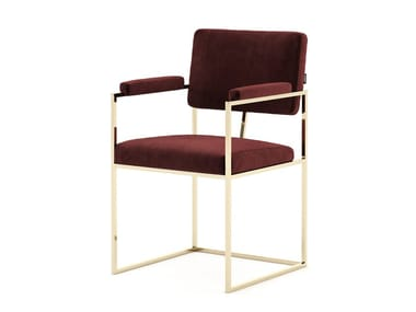 Velvet chair with armrests and steel structure GRAM | Chair with armrests