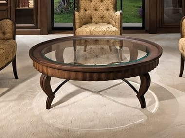 Round wood and glass coffee table for living room GRAN DUCA | Round coffee table