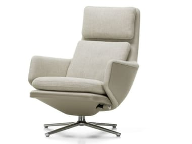 Recliner fabric armchair with 4-spoke base with armrests GRAND RELAX | Fabric armchair