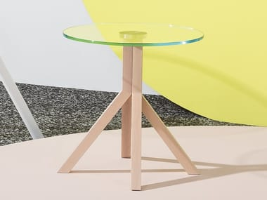 Tavolino rotondo in legno con base a 4 razze GRAPEVINE   Tavolino in legno