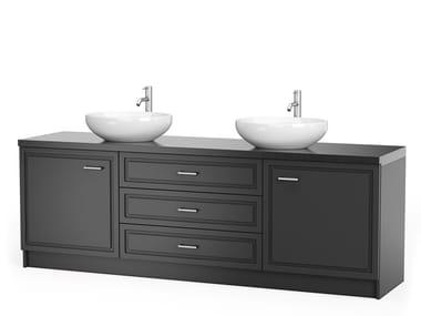 Meuble sous-vasque double laquée avec tiroirs GRAPHITE