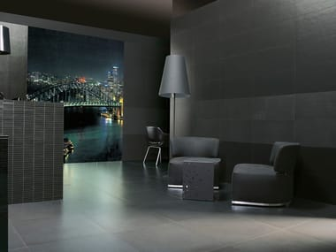 Porcelain stoneware wall/floor tiles with concrete effect with resin effect GRAPHITE