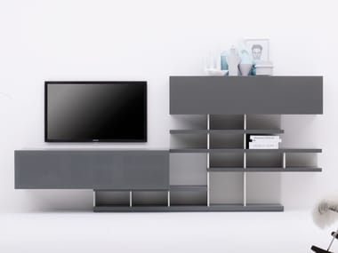 Modular TV Cabinet With Shelves GRAPHOS CHARLOTTE | Double Sided TV Cabinet