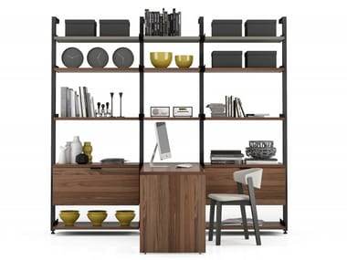 Aluminium storage wall with secretary desk GRAVITY | Storage wall with secretary desk