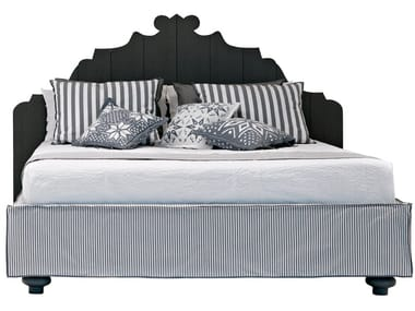 Fabric double bed with removable cover GRAY 80 S-F-E-G