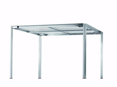Square Glass and Stainless Steel garden table GREEN - 223_O
