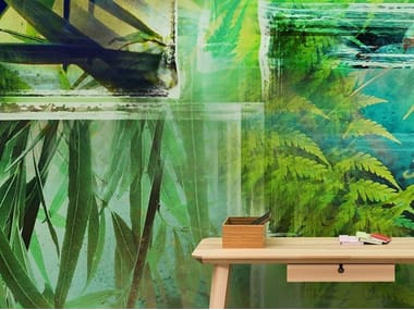 Tropical wallpaper, PVC free, eco, washable GREENLEAVES