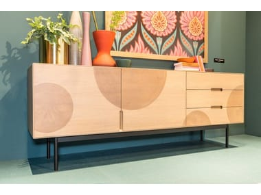 Contemporary style wooden sideboard with doors with drawers GREENWOOD | Contemporary style sideboard