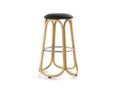 High rattan stool with footrest GRES | High stool
