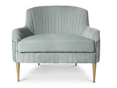 Deco velvet armchair with armrests GRETA